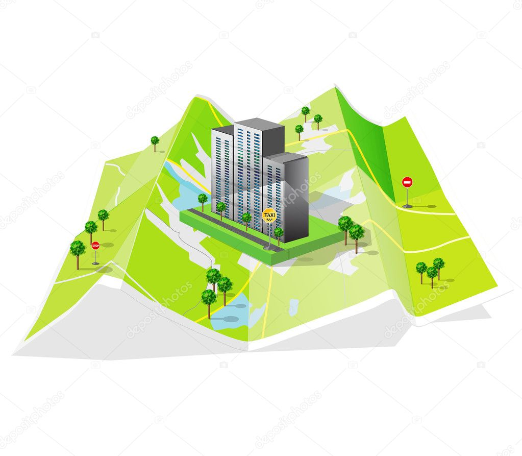 Map of the world and the building as a teaser for the website — Stock Vector #11913377