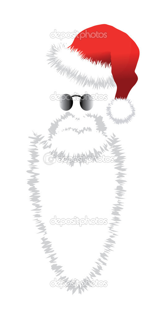 Red Santa Claus Hat, beard and glasses. Vector illustration isolated on white  background.  Stock Vector #12212911