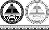 Schablonen für maya-pyramiden — Stockvektor