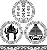 Mayan signs, headdress, pyramid and pattern — Stock Vector