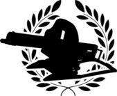 силуэт пулемет и лавровый венок — Cтоковый вектор