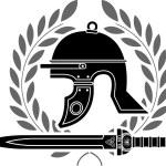 Roman helmet stencil fourth variant — Stock Vector