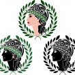 Profiles of greek woman — Stock Vector