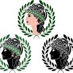 Profiles of greek woman — Stock Vector