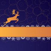 Xmas banner with reindeer — Stock Vector