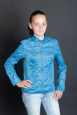 Girl in blue clothes — Stock Photo