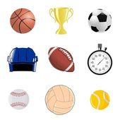 Set of sportive objects — Stock Vector