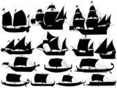 Ancient sail boats — Stock Vector