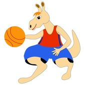 Kangaroo - basketball player — Vettoriale Stock