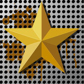 Gold star on a metal background with holes — Stock Vector