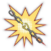 Vector illustration of the broken chain — Stock Vector