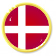 Vector button with flag Denmark — Stock Vector