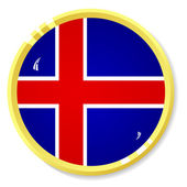 Vector button with flag Iceland — Stock Vector