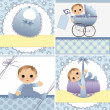 Cute templates for baby card - Stock Vector