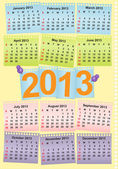 Cute monthly calendar for 2013 — Stock Vector