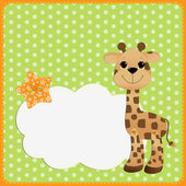 Cute teplate for postcard with giraffe — Stock Vector