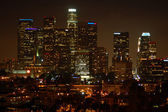 Los angeles downtown natt skyline — Stockfoto