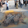 PASADENA, CA-USA - JUNE 19 2011: Painting Art Murals with chalk on street at the 19th Annual Pasadena Chalk Festival held on June 18 and 19 2011 at Paseo Colorado — Foto de Stock