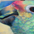 PASADENA, CA-USA - JUNE 19 2011: Painting Art Murals with chalk on street at the 19th Annual Pasadena Chalk Festival held on June 18 and 19 2011 at Paseo Colorado - Stockfoto