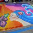 PASADENA, CA-USA - JUNE 19 2011: Painting Art Murals with chalk on street at the 19th Annual Pasadena Chalk Festival held on June 18 and 19 2011 at Paseo Colorado — ストック写真