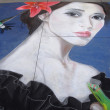 PASADENA, CA-USA - JUNE 19 2011: Painting Art Murals with chalk on street at the 19th Annual Pasadena Chalk Festival held on June 18 and 19 2011 at Paseo Colorado — Stock fotografie