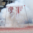 PASADENA, CA-USA - FEBRUARY 18: string of red firecrackers bursting at Chinese Lunar New Year Parade on February 18 2007 in Pasadena California — Stock Photo