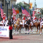 PASADENA, CA-USA - FEBRUARY 18: Rainbow Horse Riders Drill Team at Chinese Lunar New Year Parade on February 18 2007 in Pasadena California — Stock Photo #11615510