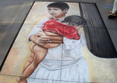 PASADENA, CA-USA - JUNE 19 2011: Painting Art Murals with chalk on street at the 19th Annual Pasadena Chalk Festival held on June 18 and 19 2011 at Paseo Colorado — Stock Photo