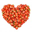 Heart shape by sliced strawberries — Stock Photo