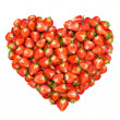 Heart shape by sliced strawberries - Stock Photo