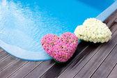 Corações de flores perto de piscina swimmong — Foto Stock