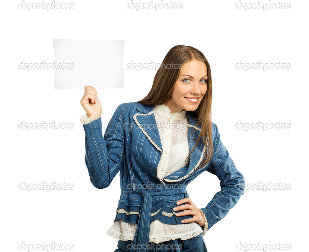 Smiling woman with empty paper isolated on white — Stock Photo #11236010