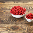 Raspberry on wood background selective focus — Stock Photo #11375592