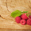 Raspberry on wood background selective focus. Fresh organic food. — Stock Photo