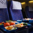 Stock Photo: Tray of food on the plane