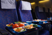 Tray of food on the plane — Foto Stock