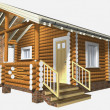 House of wooden timber. 3d model render. Isolation on white back — Foto Stock