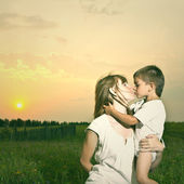 Mother and Son Having Fun outdoor . — Stock Photo