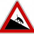 Slope warning sign for dogs — Stock Photo #12416795