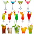 Stock Photo: Set of alcohol cocktails isolated on white