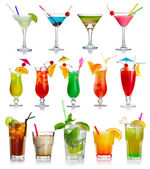 Set of alcohol cocktails isolated on white — Stockfoto