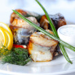 Stock Photo: Prepared sea fish portions with greens and vegatables