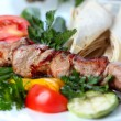 Shish pork kebab with greens and vegetables — Stock Photo #11682750
