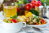 Business lunch with soup, salad and juice — Stock Photo