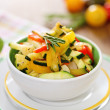 Ratatouille on white plate closeup — 图库照片