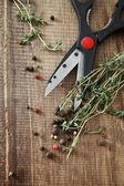 Still life with fresh Thyme and scissors — Stock Photo