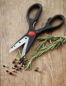 Still life with fresh rosemary and scissors — Stock Photo