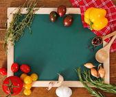 Légumes nature morte avec carte verte — Photo