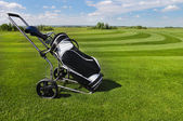 Golf balls green grass background — Stock Photo