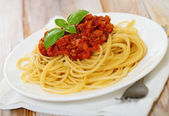 Spaghetti Bolognese on white plate — Stock Photo